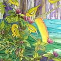 Mejiro Birds With Ohia Flower by Diane Renchler
