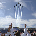 Members Of The U.s. Naval Academy Cheer by Stocktrek Images