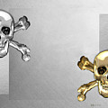 Memento Mori - Gold And Silver Human Skulls And Bones On White Canvas by Serge Averbukh