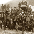 Men And Boys Gathered On And Around A Train Steam Locomotive H.  by California Views Archives Mr Pat Hathaway Archives