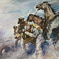 Men And Horses Battling A Storm by James Edwin McConnell