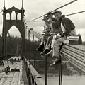 Men On Bridge by Ray Atkeson
