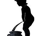 Mens Room Sign Silhouette by Sally Weigand