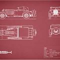 Mercedes Ssk Blueprint - Red by Mark Rogan
