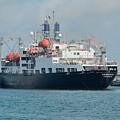Merchant Marine Training Ship Kennedy And Tugboats by Bradford Martin