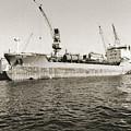 Merchant Ship Docked At Barcelona's Harbour by Don Pedro DE GRACIA