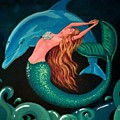 Mermaid And Dolphin  by Debbie Criswell