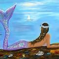 Mermaid Beauty On The Beach by Leslie Allen