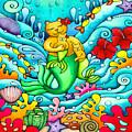 Mermaid Cat And Baby Kitten  by Holly Kitaura