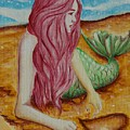 Mermaid On Sand With Heart by Beryllium Canvas