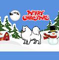 Merry Christmas American Eskimo Dog  by Justin Clanton