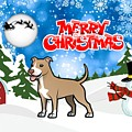 Merry Christmas American Pitbull Terrier  by Justin Clanton