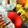 Merry Christmas Card With Red Bauble by Silvia Ganora