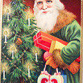 Merry Christmas Santa Delivers Gifts Vintage Card by R Muirhead Art