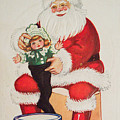 Merry Christmas Santa Pulls Doll From His Sack Vintage Card by R Muirhead Art