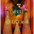 Merry Christmas Trees Colorful by Barbara Griffin
