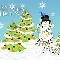Merry Christmas Typography Snowman W Christmas Trees N Blue Birds by Audrey Jeanne Roberts