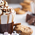 Messy Hot Chocolate, Cream And Marshmallows And A Choc-chip Cook by Sara Winter