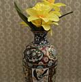 Metal Vase With Flowers by Belinda Stucki