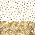 Metallic Gold Floral Flower Swirls Trendy Unique Art By Madart by Megan Duncanson