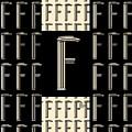 Metropolitan Park Deco 1920s Monogram Letter Initial F by Cecely Bloom