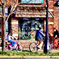 Metuchen Nj - Bicyclists On Main Street by Susan Savad