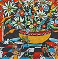 Mexican Vase With Spring Flowers by Heather McFarlane-Watson