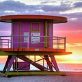 Miami Beach Round Life Guard House Sunrise by Toby McGuire