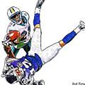 Miami Dolphins Vontae Davis And Minnesota Vikings Percy Harvin  by Jack K