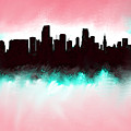 Miami Fla Skyline by Enki Art