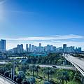Miami Florida City Skyline And Streets by Alex Grichenko