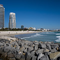 Miami Florida Skyline Miami Beach Rock Wall by Toby McGuire