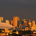 Miami Skyline At Sunset by Christiane Schulze Art And Photography