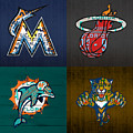 Miami Sports Fan Recycled Vintage Florida License Plate Art Marlins Heat Dolphins Panthers by Design Turnpike