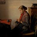 Michael Ancher - Skagen Girl, Maren Sofie, Knitting. by Artistic Rifki