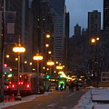 Michigan Avenue At Night by Jan Gilmore