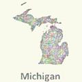 Michigan Line Art Map by David Zydd