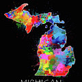 Michigan Map Color Splatter 2 by Bekim Art
