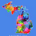 Michigan Map Color Splatter 3 by Bekim Art