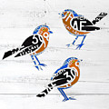 Michigan Robins State Bird Recycled Vintage License Plate Art On White Barn Wood by Design Turnpike