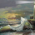 Michigan Seul Choix Point Lighthouse With An Angry Sea by Regina Femrite