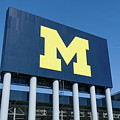 Michigan Stadium Sign At University Of Michigan by Ken Wolter