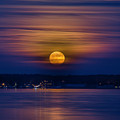 Michigan Super Moon Over Muskegon Lake by J Thomas