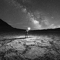 Midnight Explorer At Badwater Basin Bw by Michael Ver Sprill