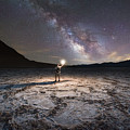 Midnight Explorer At Badwater Basin  by Michael Ver Sprill