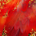 Midsummer Magik Fantasy Abstract Red Feathers, Gold Sparkles by Tina Lavoie