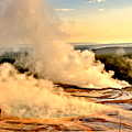 Midway Geyser Basin Steamy Sunrise by Adam Jewell