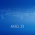 Mig 21 Blueprint by Brooke Roby