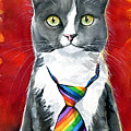Mika - Gray Tuxedo Cat Painting by Dora Hathazi Mendes