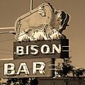 Miles City, Montana - Bison Bar Sepia by Frank Romeo